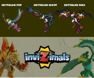 Puzle Skytalon ve třech fázích Skytalon Pup, Skytalon Scott a Skytalon Max, Invizimals