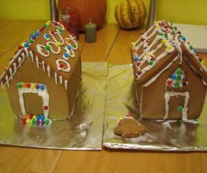 Puzle Sladké a krásné vánoční ozdoba, dva domy perníku