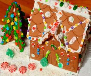 Puzle Sladké a krásné vánoční ozdoba, perníkové chaloupce