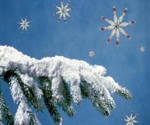 Puzle sněhu-vztahuje jedle větev