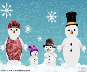 Puzle Sněhuláci rodina