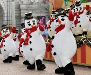 Puzle Sněhuláci tanec