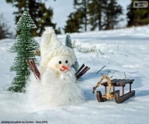 Puzle Sněhulák a sáně