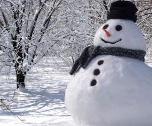 Puzle Sněhulák s čepici a šálu