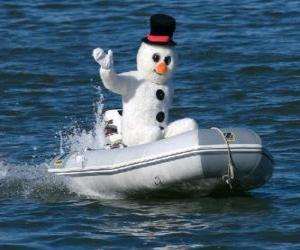 Puzle Sněhulák ve člunu