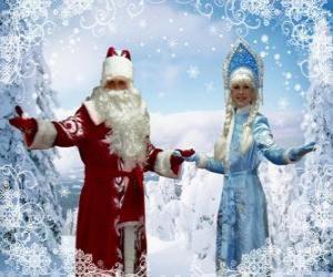 Puzle Snegurochka nebo Sněhurka a Mrazík nebo Děda Mráz, ruština tradiční vánoční postavy