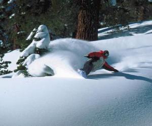 Puzle Snowboarder sestupně v čerstvém sněhu