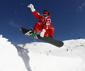 Puzle Snowboardista dělá trik