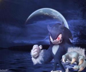 Puzle Sonic Werehog, nejnovější Sonic transformace, v noci se promění ve vlka ježek