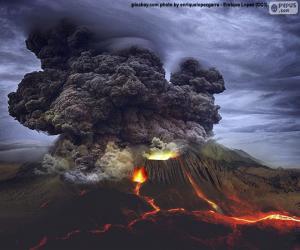 Puzle Sopečná erupce