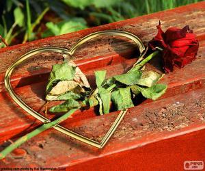 Puzle Srdce a růže