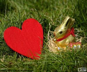Puzle Srdce a Velikonoční zajíček