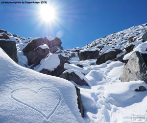 Puzle Srdce ve sněhu