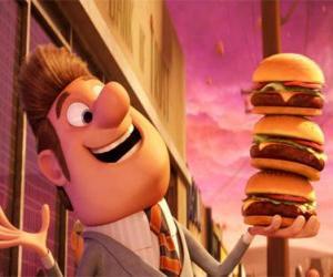 Puzle Starosta spokojeni se třemi hamburgery v ruce