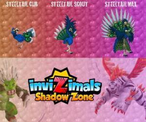 Puzle Steeltail Max. Invizimals Shadow Zone. Velkolepé pták, ocas je mocná zbraň z oceli peří