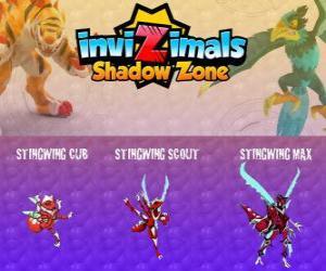 Puzle Stingwing Cub, Stingwing Scout, Stingwing Max. Invizimals Shadow Zone. První Invizimal zajat Kenichi, atraktivní a nebezpečný hmyz