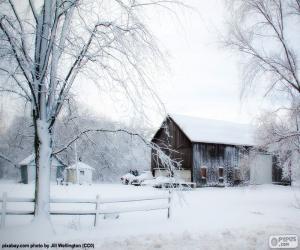Puzle Stodola v zimě