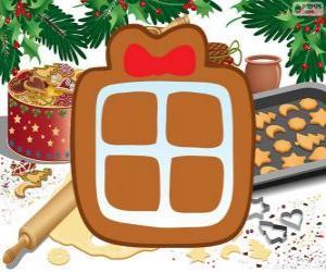 Puzle Sušenka s tvarem vánoční dárek