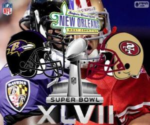 Puzle Super Bowl 2013. San Francisco 49ers versus Baltimore Ravens. Superdome, New Orleans