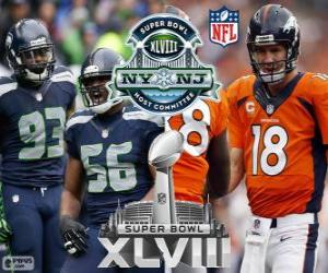 Puzle Super Bowl 2014. Seattle Seahawks vs Denver Broncos. MetLife Stadium v New Jersey, na 2 února 2014