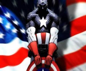 Puzle Superhrdina Kapitán Amerika je vlastenecká a expert na boj zblízka