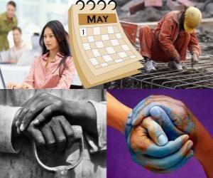 Puzle Svátek práce, Mezinárodní den pracujících nebo máj je mezinárodní svátek dělnického hnutí. Se konalo 1. května v mnoha zemích