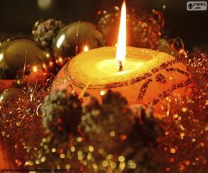 Puzle Svíčky zapálené na Vánoce