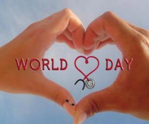 Puzle Světový den srdce, poslední neděli v září jsou organizovány aktivity ke zlepšení zdraví a snížení rizika