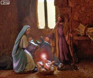 Puzle Svatá rodina na Štědrý den