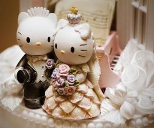 Puzle Svatební Panenky Hello Kitty a Milý Daniel