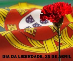 Puzle Svoboda den, 25. dubna, Portugalsko je národní svátek na památku revoluce karafiátu z roku 1974