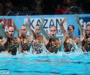 Puzle Synchronizované plavání