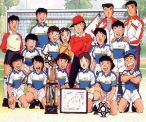 Puzle Tým Captain Tsubasa s trofej