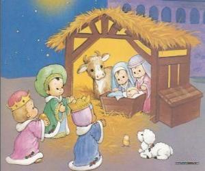 Puzle Tři Králové a dodává své dary, zlato, kadidlo a myrhu, aby dítě Ježíše
