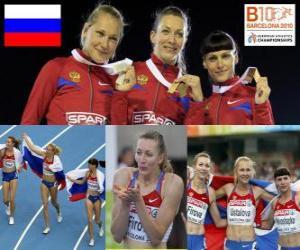 Puzle Tatiana Firova mistr v 400 m, Xenia Krivoshapka Ustalova a Antonina (2. a 3.) v Mistrovství Evropy v atletice Barcelona 2010