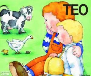 Puzle Teo a jeho sestra Klára se zvířaty