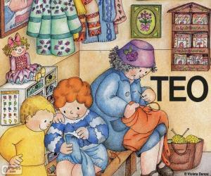 Puzle Teo se naučit šít