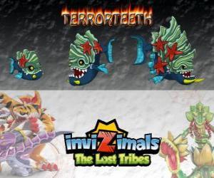 Puzle Terrorteeth, nejnovější vývoj. Invizimals The Lost Tribes. Vodní Invizimal, že jí velmi rychle a že všechno kouše