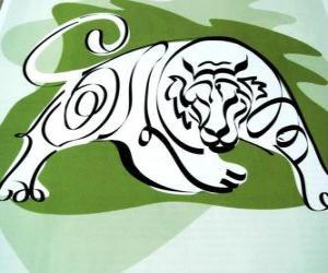 Puzle Tiger, znamení tygra, Rok tygra. Třetí znak z dvanácti zvířat čínského zvěrokruhu