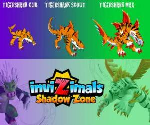 Puzle Tigershark Cub, Tigershark Scout, Tigershark Max. Invizimals Shadow Zone. Bojovníci legendy v Indii a na Srí Lance
