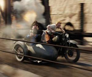 Puzle Tintin řízení sidecar se svými přáteli v jedné z jeho dobrodružství