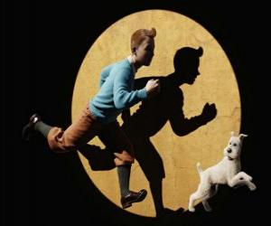 Puzle Tintin se psem Milou běží