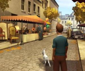 Puzle Tintin se svým psem Milou na ulici