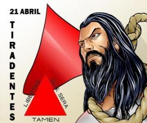 Puzle Tiradentes den, mučedník nezávislosti Brazílie. To připomíná jeho smrti na 21 dubnu 1792