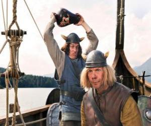 Puzle Tjure chystá rozbít vázu na hlavu Snorre