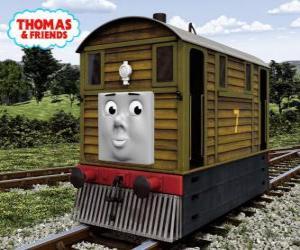 Puzle Toby je hnědá lokomotiva č. 7
