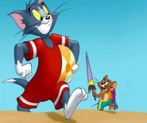 Puzle Tom a Jerry na pláži