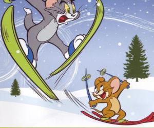 Puzle Tom a Jerry ve sněhu s lyžemi