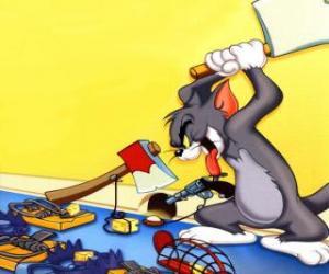 Puzle Tom se snažil chytit myš Jerry