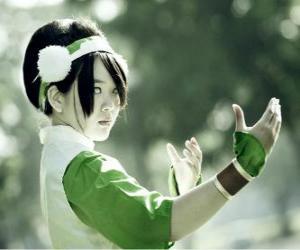 Puzle Toph Bei Fong, Toph je dívka, se narodil slepý, které doprovází Aang na jeho hledání a učit ho earthbending